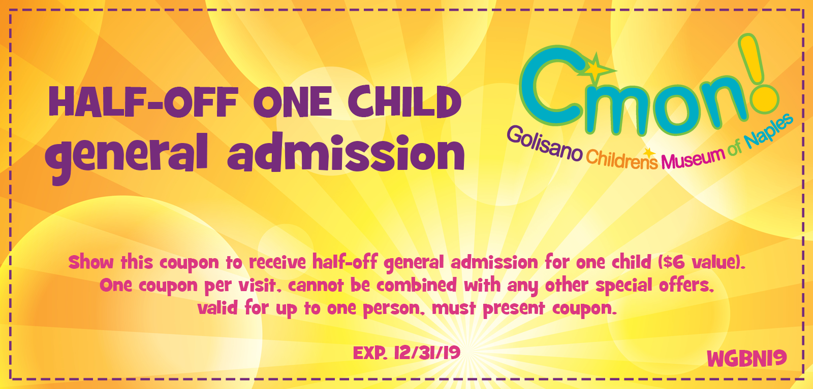 Website Coupon - CMON Childrens Museum